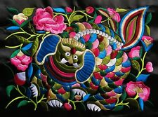 Square antique miao hmong machinemade embroidery ancient beast colorful flowers