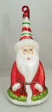 """Santa Claus Candy Stripe Hat Ornament 7"""" Glass Vintage Inspired Gift"""