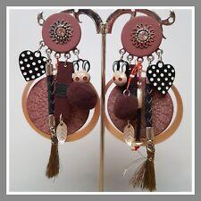 Boucles d'oreilles Lol Bijoux lolilota rose strass pompon cœur lapin mode girly