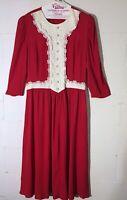 Vintage 80s Lisa II Red Lace Jessica McClintock Style Lagenlook Dress Christmas