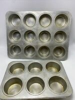Wear Ever No. 2786  Aluminum 12 Cupcake Muffin Pan + No. 2784 6 Cupcake Vintage
