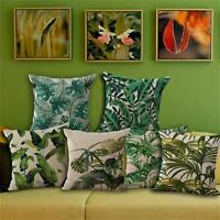 Tropical Plant Floral leaves Pillow Case Cotton Linen Cushion Cover Home Decor P