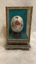 Vintage Japanese Hand painted egg with glass case