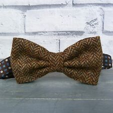 Handmade Yorkshire Tweed and Silk Bow Tie - Brown