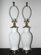 "LAMPS PAIR OF HOTEL STYLE 27""H FANCY WHITE PORCELAIN ASIAN THEMED TABLE LAMPS"
