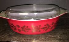 ~Vintage Pyrex 045 Red Gold Poinsettia Christmas Casserole Dish Minty