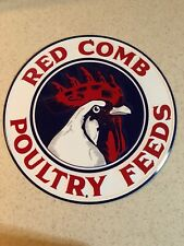 "RED COMB POULTRY FEEDS EMBOSSED  11.75""  ROUND METAL SIGN  NEW"