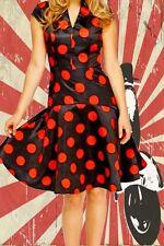 G783✪ rockabella 60er Jahre schwingendes Kleid Punkte dots schwarz rot Gr 42
