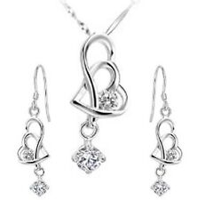 Silver white crystal Cz and two Heart Set Earring and the Necklace in gift box
