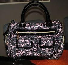 NWOT Betsey Johnson Weekender Travel Diaper Shoulder Bag Sequins Black Pink Gray