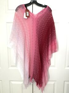 $350 NWT Authentic Missoni Women's Fringe Chevron Knit Poncho Cover up Pink Red