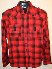 Mens NWT South Pole Red Plaid Long Sleeve Button Front Flannel Shirt Size XL