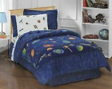 Kids Twin Bed OUTER SPACE Stars - 6 Piece Bedding Comforter & Sheet Set - EUC