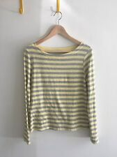 APC/A.P.C. MADRAS Yellow + Heather Gray Stripe Cotton Boatneck L/S T-Shirt Tee S