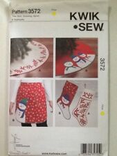 Kwik Sew Pattern 3572 Uncut Christmas Tree Skirt Stocking Apron & Appliqués