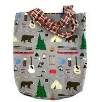 Handmade Reversible Tote Bag Purse Vintage Fabric Camping Theme Bears Tents