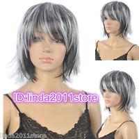 Fashion wig New sexy ladies short black Gray Mix Short cosplay wigs + wig cap