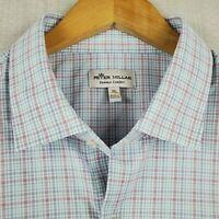 NEW PETER MILLAR XL Summer Comfort Mens Blue Plaid Button Up Front Shirt NWT