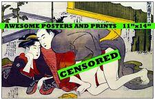 Extremely Rare, Japanese, Shunga Artwork (1) Erotic Art. Restored Reprint. 11x14