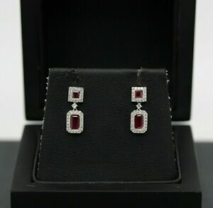 18ct White Gold 0.70ct Ruby & Diamond Cluster Earrings