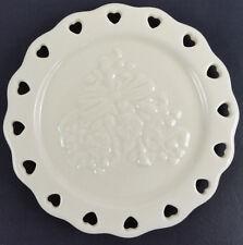 Longaberger Sweetest Heart Candle Plate 2005 Ivory Open Lace Nib 31083