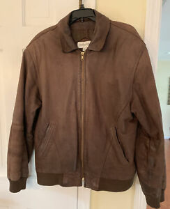 Charles Klein Men's Brown Leather Jacket Size Medium Great Condition