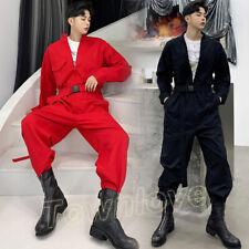 Men Overall Coveralls Jumpsuit Playsuit One-piece Coat Pants Suit Trouser Romper