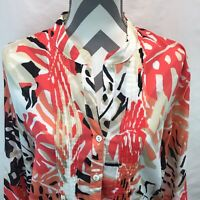 Foxcroft Shaped Fit Size 18 3/4 Sleeve Button Up Pleated Blouse Red Orange HH17