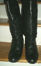 L.L. Bean tall black leather lace riding boots, 1 inch heel , size 8M