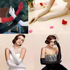 Fashion Lady Long Wedding Bridal Opera Evening Party Costume Satin Gloves FT25