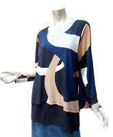 Artsy Alfani Layered Top Size XL Abstract Colorblock Print Blue Black Beige