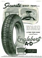 Publicité ancienne automobile pneu Englebert 1937 issue de magazine