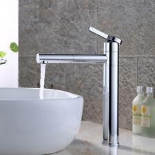 Badarmatur Hoch Einhandmischer Chrom Wasserhahn Mischbatterie Waschbecken Silver