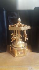 Bulova Miniature Brass Carousel Clock Limited Edition w/Display Box &...