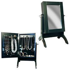 BLACK TABLE TOP STANDING MIRROR JEWELLERY ARMOIRE CABINET ORGANISER STORAGE BOX