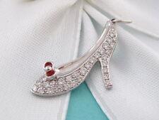 NEW TIFFANY & CO RED ENAMEL PRINCESS SHOE HEEL PLATINUM DIAMOND CHARM MSRP $3150