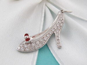 NEW TIFFANY & CO RED ENAMEL PRINCESS SHOE HEEL PLATINUM DIAMOND CHARM MSRP $3150