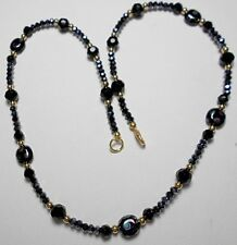 "22"" necklace, mix of black glass beads, 4mm - 10mm"