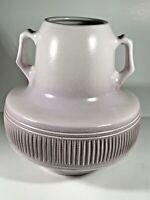 Vintage MCM Kfar Menachem Kibbutz Pottery Double Handled Purplish Vase Israel