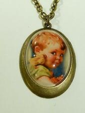 PRETTY BRONZE PLATED PENDANT & CHAIN - BOY WITH CHICK - FREE UK P&P.....CG0804