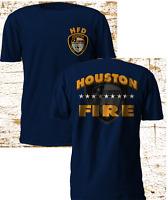 New Houston Texas Firefighter Fire Brigade Service Firearm Navy T SHirt S-4XL
