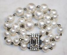 Vintage FURLA Italy Faux Pearl Bracelet. Crystal Clasp. Hand Made Couture. RARE!