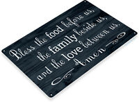 TIN SIGN Bless this Food Metal Décor Prayer Kitchen Barn Cottage Store A253
