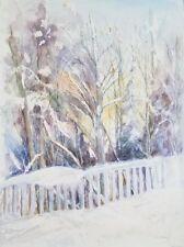 Suzanne Obrand Holocaust Survivor, Watercolor Painting Winter Wonderland Framed