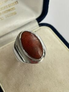 Vintage 925 Sterling Silver & Red Carnelian Modernist Style Dress Ring Size P