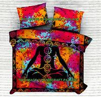 Indian Meditation Yoga Chakra Tie Dye Queen Comforter Bedding Quilt Duvet Cover