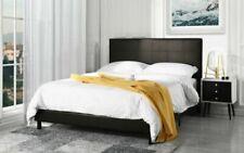 Casa Andrea Milano Faux Leather Platform Bed Frame, Dark Brown - Full