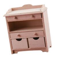 1:12 maison de poupée armoire en bois avec tiroirs scènes de vie modèle jouet