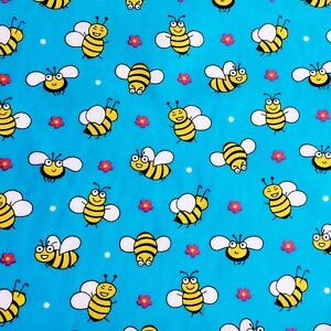 SOLD PER METRE New Polycotton Fabric BLUE BUSY BEES FLOWERS CRAFTS MATERIAL