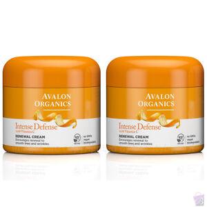 PACK OF 2 Avalon Organics Intense Defense RENEWAL FACE CREAM, Vitamin C, 2x57g